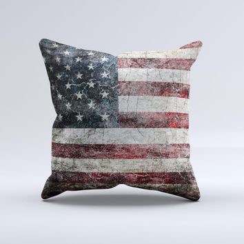 Dark Grungy Textured American Flag  Ink-Fuzed Decorative Throw Pillow