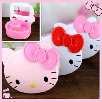 New Hello Kitty Music Box Mirror / Make Up jewelry Box yey-E1029-3 Pink