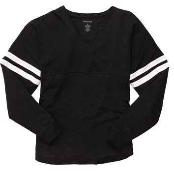Lightweight Long Sleeve Baseball Jersey. Comfy V-Neck Top. Up to 2x. Black