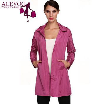 ACEVOG Brand Fashion Size 3XL Stylish Ladies Women Packable Long Sleeve Solid Casual Hoodie Raincoat  Autumn Winter Thin Coat