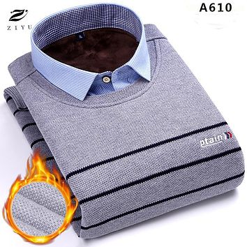 ZIYU brand 2017 winter formal sweater simple design England style twinset slim fit classic striped mens clothing warm wool shirt
