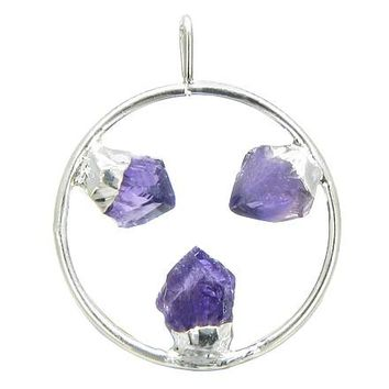 Brazilian Lucky Circle with Triple Rough Amethyst Crystal Point Gemstones Dipped in Silver Pendant