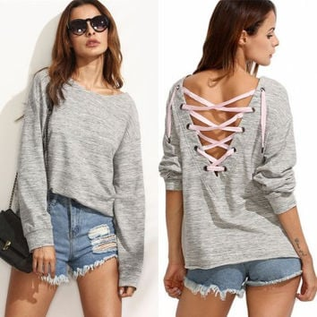 2016 Hollow Bandage Everyday Wear Long Long Sleeve Blouse Top Sweatshirt Shirt _ 9206