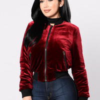 Baby You Feel Me Jacket - Burgundy