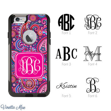 iPhone Otterbox Commuter Series Case for iPhone 5/5s, 6/6s, 6 Plus/6s Plus Monogrammed Paisley Initials Personalized Cell Phone Case 1214