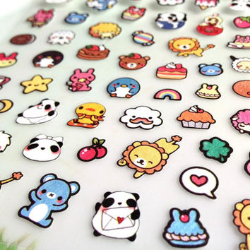 Little cartoon animal sticker zoo party colorful rainbow pet seal lable cute baby animal pengiun bear lion cake nesting doll mini icon