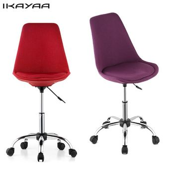 iKayaa Fashion Adjustable Office Chair 360 Swivel Pneumatic Study Computer Task Chair Shell Stool Red/Purple