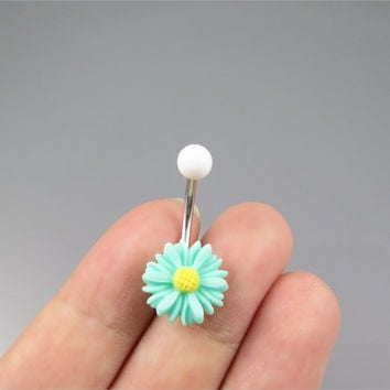 Mint green little daisy belly button jewelry ring,little daisy belly ring,flower belly ring,Belly Button Jewelry,summer jewelry,girlfriend