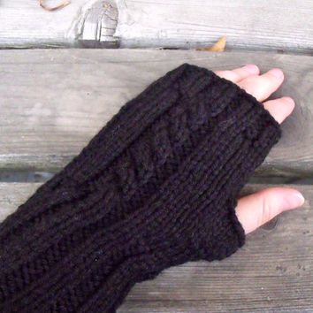 Cable Knit Fingerless Gloves in Black, Arm Warmers, Hand Warmers, Ladies Gloves, Women's Gloves, Long Fingerless Gloves, Black Gloves