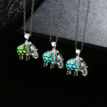 Animal Elephant Locket Luminous Necklace Glow In The Dark
