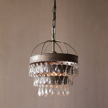 Pendant Lamp w/ Layered Shade and Hanging Glass Gems
