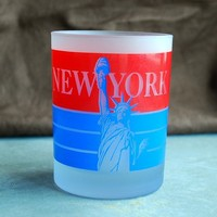 Red White and Blue Empire State Double Rocks Glass - Vintage Souvenir Tumbler - New York