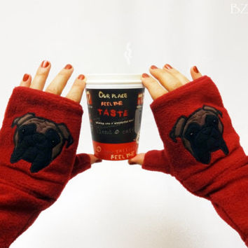 Personalized Bulldog Gift. Fingerless Gloves with Pockets for Dog Lovers Customized