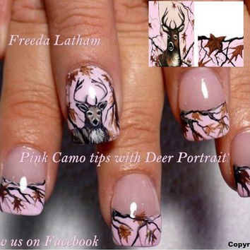 "Light Pink Camo French Tips with Buck portraits from the Freeda Latham "" Signature Collection "" Hand Painted Nail Wraps"