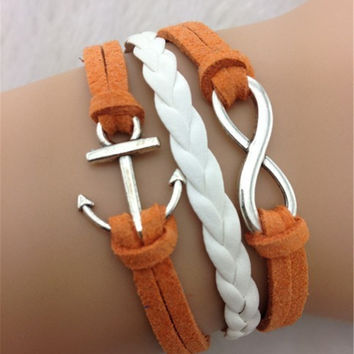 Joker Anchor Multi-layer Leather Cord Bracelet