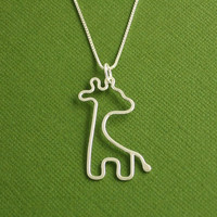 Giraffe Necklace Argentium Sterling Silver Made To by Dragonfly65