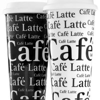 Konitz Travel Mug, Black and White Cafe Latte