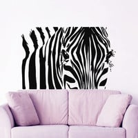 Zebra Wall Decal Africa Vinyl Stickers Safari Animals Decals Zoo Animal Sticker Dorm Art Mural Home Design Interior Living Room Decor KI114