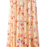Butterfly Print Pleated Drawstring  Maxi Skirt