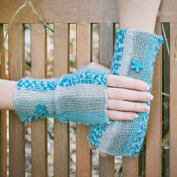 Hand Knit Fingerless Gloves, Blue. Turquoise. Mint. Striped. Warm Fall and Winter Fashion Accessory. With embroidery.