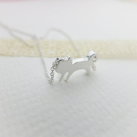 Silver Cat Necklace Silver necklace Charm necklace Cute necklace Animal necklace Gift mom Gift best friend Birthday presents Gift sister