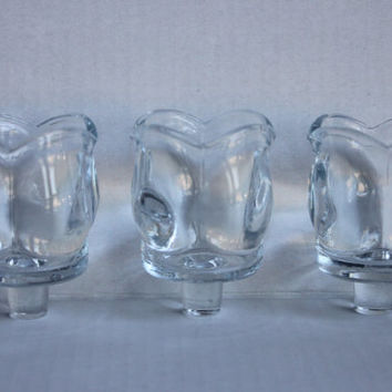 Three Tulip Votive Candle Cups for Candle Holder or Sconce, Vintage Clear Flower Petal Glass