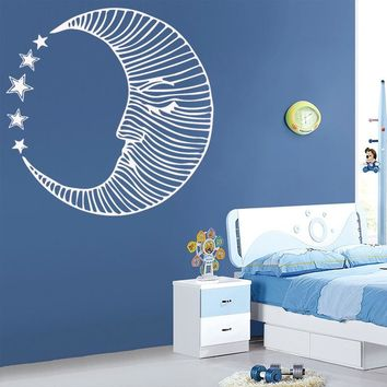 Moon Lotus Flower Meditation Wall Decals Living Room Decoration Vinyl Wall Stickers for Yoga Studio Decor Art Sticker Wall Decor