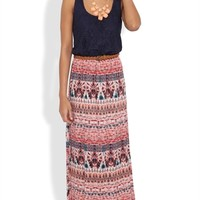 Long Dress with Crochet Lace Bodice and Tribal Maxi Skirt with Belt