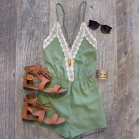 Love Quest Lace Romper - Mint