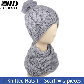 6 Color! Female Winter Solid Crochet Hat Scarf Set Knitted Hats For Women Skullies Beanies Warm 2016 New Wool Hat Hijab Turban