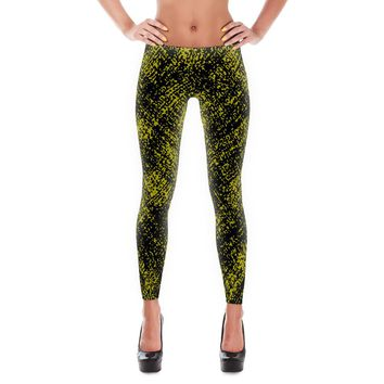 Black/Yellow Grain Design Leggings