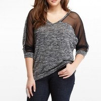 Plus Size Mesh Hacci Crossdye Top | Fashion To Figure