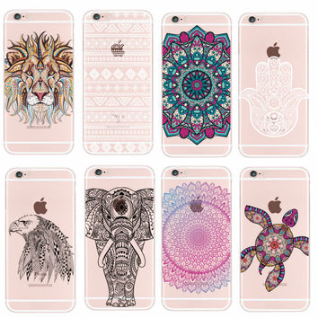 For iPhone 4 5 6 7 S Plus SE 5C Samsung Galaxy Fashion Mandala Tribal Bohe Elephant Lion Wolf Dear Animals Soft TPU Case