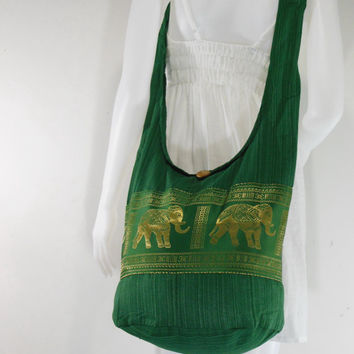 Forestgreen Hill Tribe Elephants Cross body  bag,Shoulder bag,Hippie,Cotton, Boho Hobo , Messenger Bag,Purse E-HG05