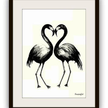 Couple of flamingos, girl room decor, printable, silhouette, wall home decor, poster decals , black and white, flamingo, bird, birds, love