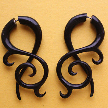 GALLA Fake Gauges - Hand Carved Black Horn Earrings - Swirls and Curls - Tribal Style Jewelry