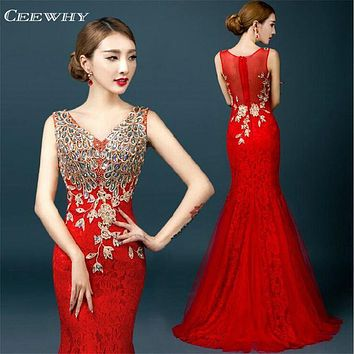 CEEWHY V-Neck Major Embroidery Robe De Soiree Evening Dresses Long Mermaid Prom Dress Burgundy Lace Party Dresses Abendkleider