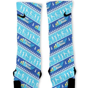 Victory Royale Fortnite Christmas Sweater Custom Nike Elite Socks