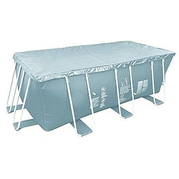 By PoolCentral 12.5' Durable Apertured Rectangular Gray Pool Cover with Rope Ties