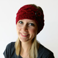 Red Knit Headband, Knit Head Wrap, Winter Headband
