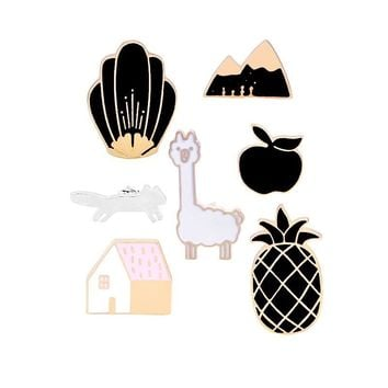 Trendy Black White Enamel Pin Men Cartoon Pineapple House Apple Women's Brooches Pins Denim Jackets Lapel Badge Women Kids Jewelry Gift AT_94_13