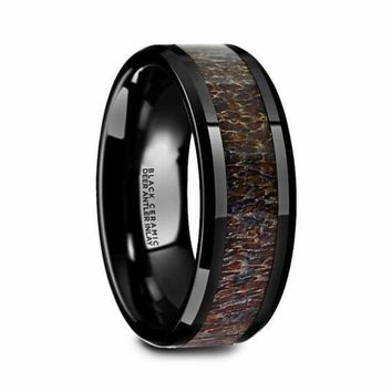 Black Ceramic Wedding Ring Deer Dark Brown Antler Inlay Beveled Polished Finish - 8mm