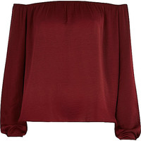 River Island Womens Dark red bardot top