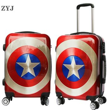"ZYJ Kids Cartoon Captain America Travel Rolling Luggage Girls Men Women Suitcase Carry On 20"" 24"" Inch Airplane Trolley Luggage"