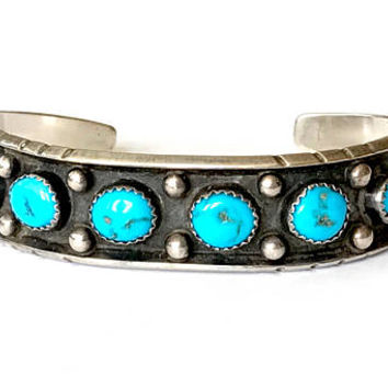 Navajo Turquoise Bracelet, Sterling Silver Turquoise Cuff, Helen Long, Vintage 1970s, Native American Jewelry, Designer Signed, Collectible