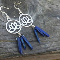lotus flower earrings. Blue lapis earrings. Gemstone bangle earrings. Bohemian. Zen. Boho jewelry.  Nickel free hooks. Mothers day Gift.