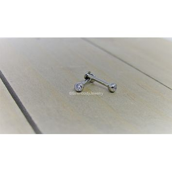 "16g Titanium flat back labret stud 5/16"" 3mm gem bead internally threaded earlobe helix conch tragus earring"