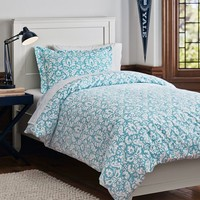 Damask Duvet Bedding Bundle, Sky Blue