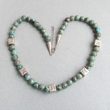Vintage Native American Natural Green Turquoise & Sterling Silver Bead Necklace