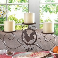 Country Rooster Silhouette Pillar Candle Holder